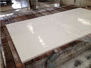 Hotel / Household White Quartz Kitchen Countertops , Custom Edge White Quartz Slab