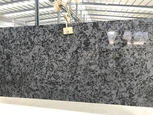 3000 X 1400mm Black Quartz Slab , High Hardness Solid Quartz Island Slab