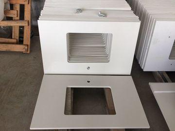 Durable Prefabricated Vanity Countertops , Absolute White Natural Quartz Vanity  Top