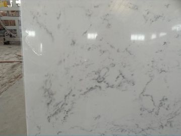 Cararra White Artificial Quartz Slabs , 93% Natural Quartz Stone For Kitchen