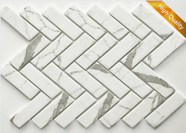 White Cararra Marble Mosaic Tile Fish Bone Shaped 31 X 98 X 6mm Chip Size
