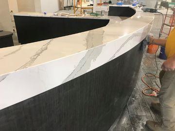 White Calacatta Calacatta Quartz Slab Stone , Calacatta Quartz Countertops