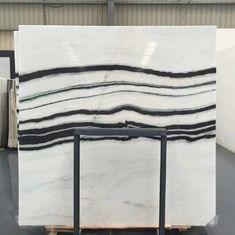 Panda White Natural Marble Tile For Flooring Layout , Book Matched Marble Stone Tile