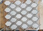 White marble hexagon mosic tile 10mm Thickness For Bathroom / Kitchen