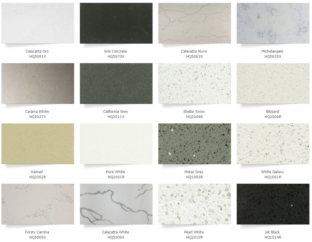 Gray Quartz Kitchen Countertops , Artificial Solid Surface Quartz  Countertops