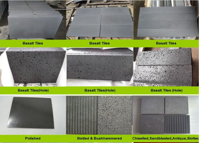 Hainan Black Lava Sands Blasted Bluestone Black Dark Basalt Flamed Grooved  Natural Stone Tiles Slabs