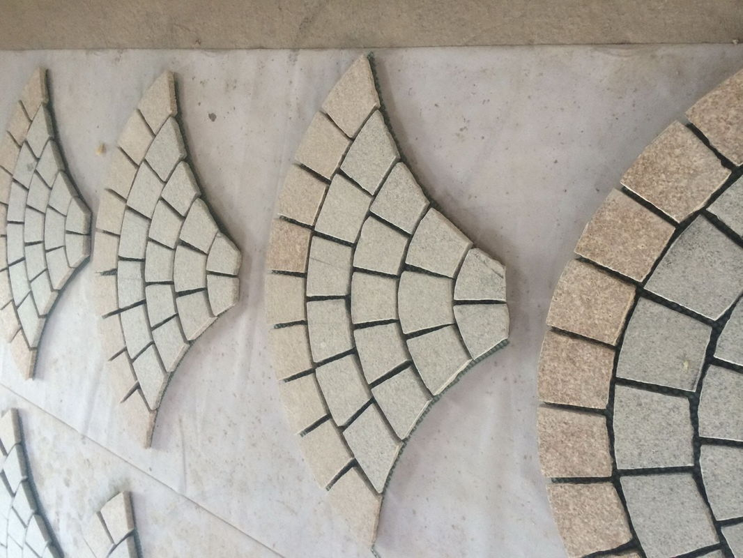 Fan Shape Type Beige Natural Paving Stones 10 X 10 X 3cm Common Size
