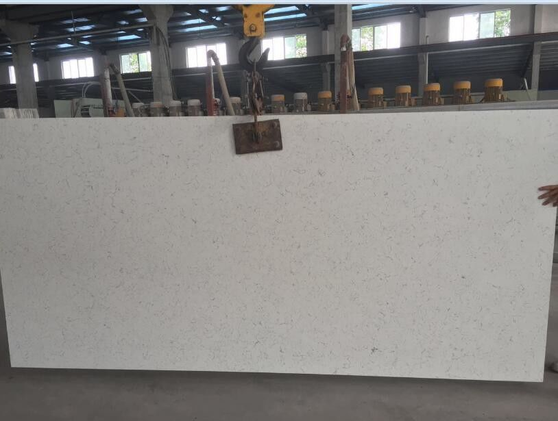 Large White Mirror Quartz Floor Tiles , Solid White Quartz Countertops Slab