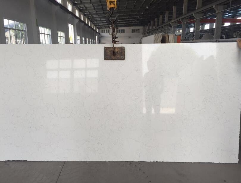 Large White Mirror Quartz Floor Tiles Solid White Quartz