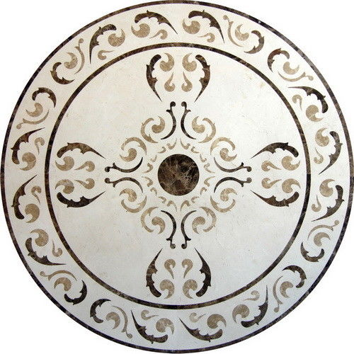Round Mosaic Marble Floor Medallions Polished Solid Surface Sgs Standard