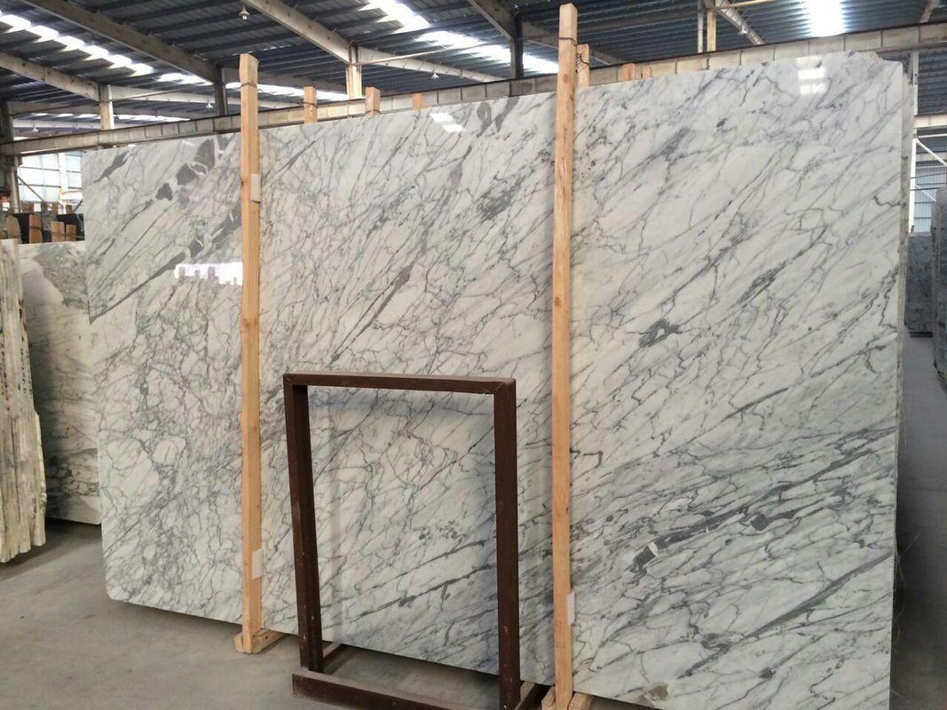 Natural Statuario Marble Tiles Customized Size White Marble Floor Tile