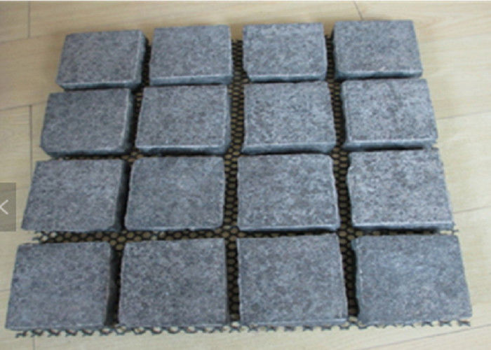 Black Basal Cobble Paving Bricks , Landscape Black Granite Paving Stones
