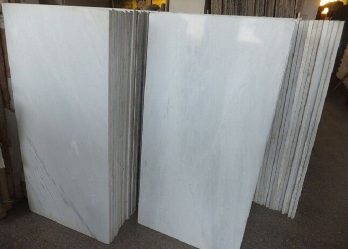 Pure White Polished Marble Floor Tiles , High Hardness Decorative ...