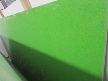 China Sparkle Galaxy Green Stone Slab , Custom Size Artificial Natural Quartz Slab factory