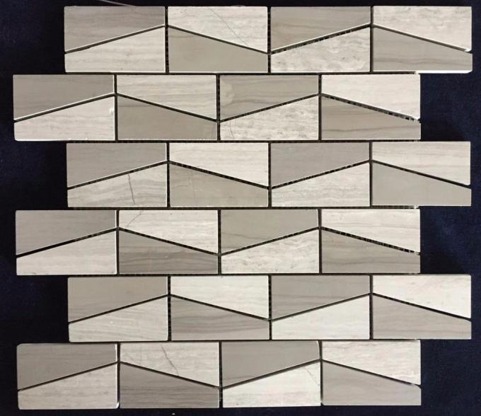White Black Penny Grey Mosaic Floor Tiles , Various Patterns Stone ...