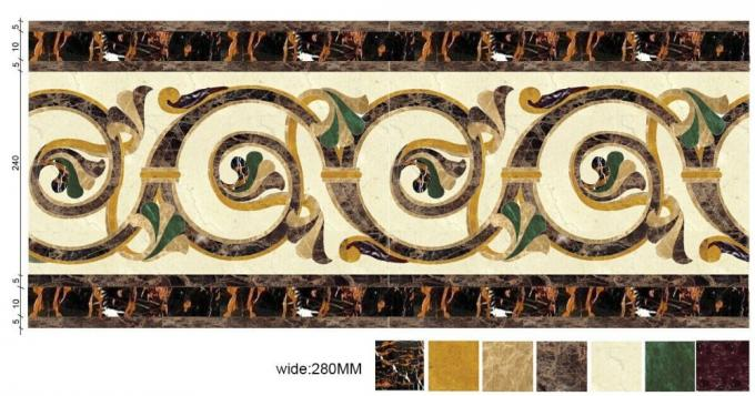 Decorative Marble Floor Medallions Border Designs Customized Shape