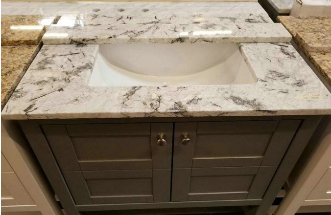 Blue Cream White Granite Slabs , Prefabricated Smooth Stone Slab Countertop