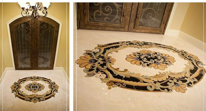 Beige Foyer Marble Floor Medallions For Outdoor Indoor Decorative