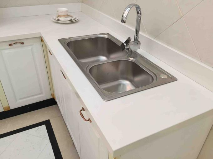 Prefabricated Quartz Bathroom Vanity Tops Customized Design / Size