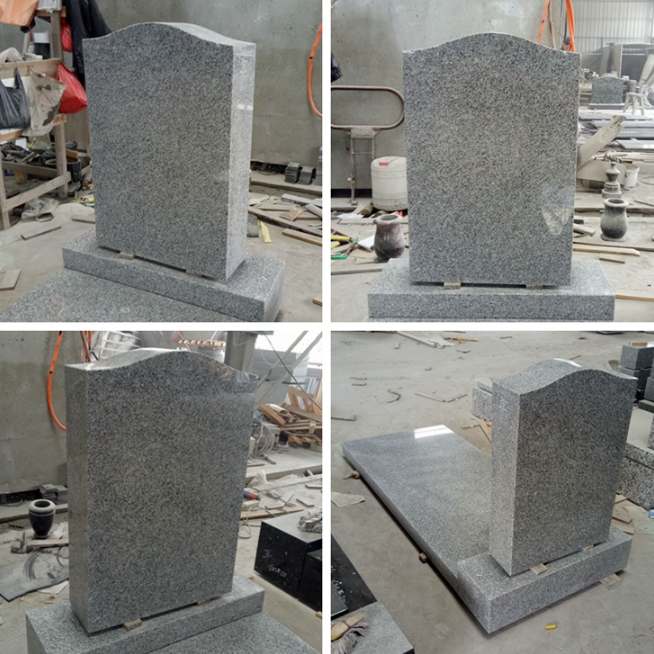 Grey Granite Memorial Headstones Above 90 Degree Polished Surface