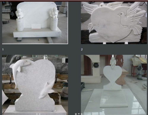 White Pearl Monument Grave Markers , Marble Sketch Simple Headstones For Graves