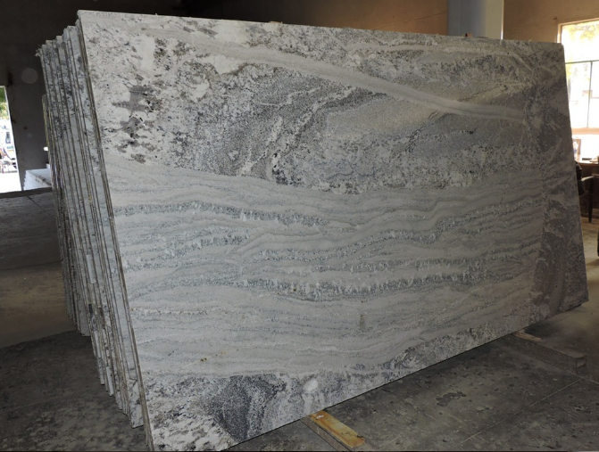 Polished Bookmatched Stone Slabs , Hard White Grey Polished Granite Slabs