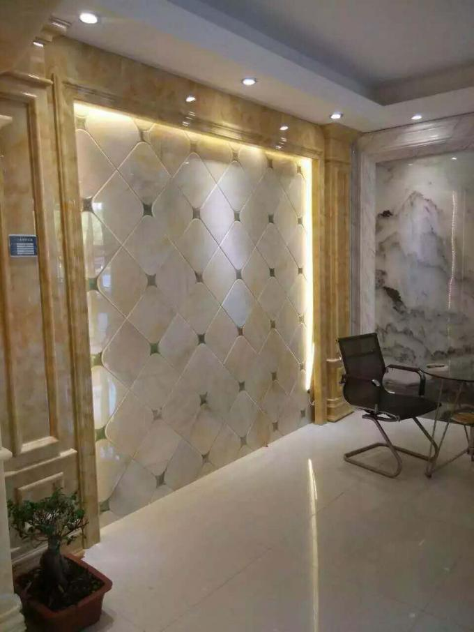 Cream Onyx Natural Marble Tile / Cream Marble Floor Tiles Onyx Type For Floor